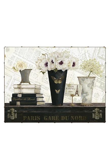 "Kathryn White Paris Gare du Nord 30"" x 40"" Hand Embellished Canvas"