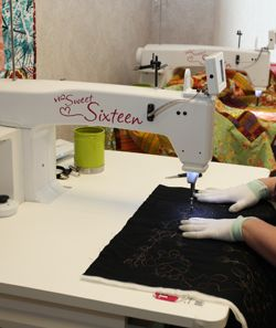 Learning Long Arm Quilting with the Handi Quilter Sweet Sixteen at the Cotton Patch Studio.