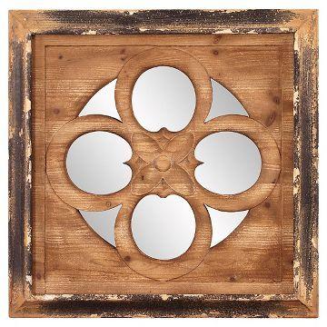 Square Graham Decorative Wall Mirror Bark/Gold Shimmer - Howard Elliott