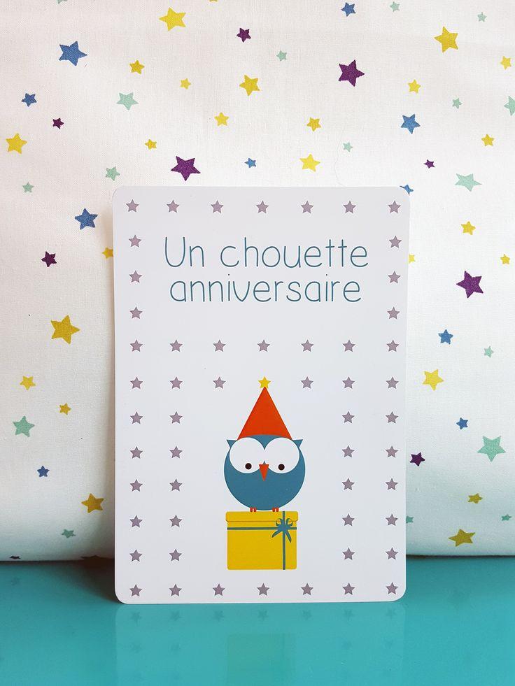 Carte d'anniversaire enfant chouette bleue | Pigment des Belettes