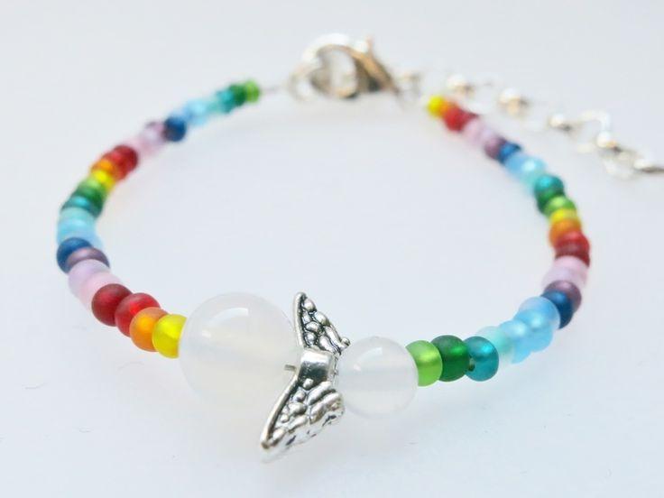 Armbänder & Armreife - Kinderarmband kleiner Engel Schutzengel Achat  - ein Designerstück von Ainikki bei DaWanda