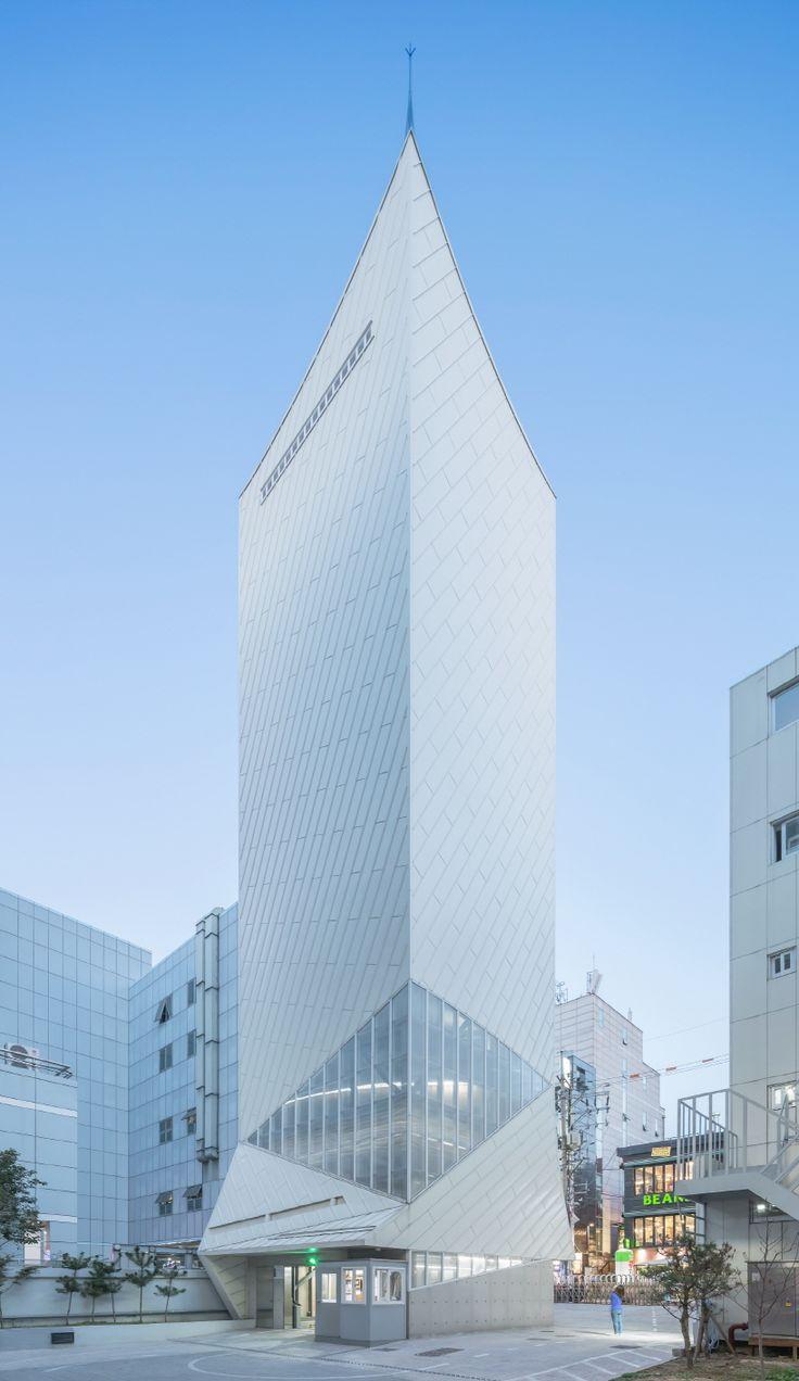 iroje khm architects white boat parking building in seoul