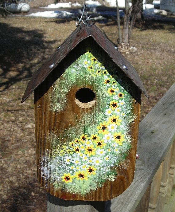 Primitive Barn Wood Birdhouse with hand painted by Imperfetions, $30.00