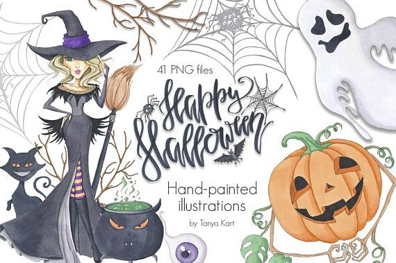 Autumn Clipart, Halloween Clipart, Hand-painted Clipart, October Clipart, Witches clipart, Pumpkins clipart, Halloween girls, Autumn Girl This set of hand drawn and hand-painted elements is perfect for your personal creations and craft business! All elements were designed and painted