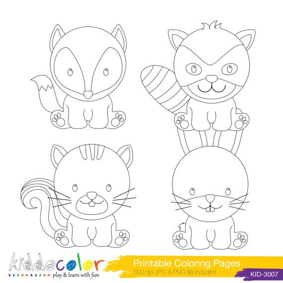 Printable Cute Woodlands Animals Coloring Pages Digital Stamp 1