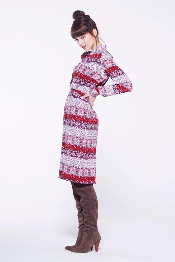furelle #totallook #dress #aztecpattern #dress #longsleeve #kneelength