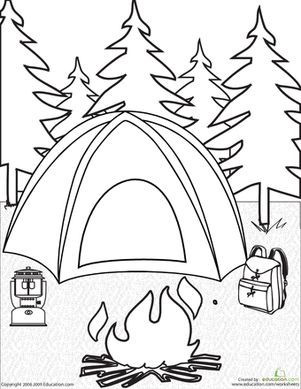 Get ready for camping with this fun coloring page, which features a tent, campfire, backpack and lantern.