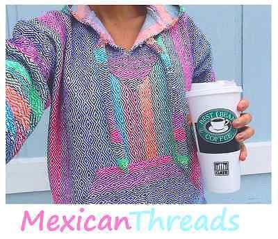 Baja Hoodie Mexican Drug Rug Jacket Pink Purple Blue Multi Mexican Threads S-3XL