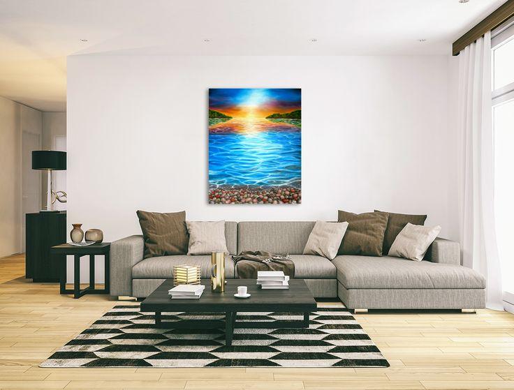 Wall decor, fine art, oil painting, canvas print, for sale, aqua, blue, turquoise, colorful, coastal, pebbles, seascape, sunset, impressive