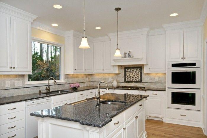 L Küche mit Kochinsel, günstige Küchen im Landhausstil, LED Lampen ...