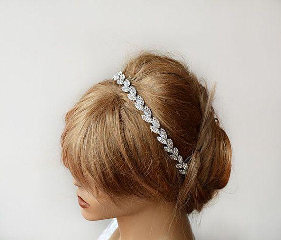 Silver Leafs Wedding Headband, Silver Floral Hair Vine, Bride Headpieces, Wedding Hair, Bridal Vine, Halo Hair Piece, Bridal Accessories