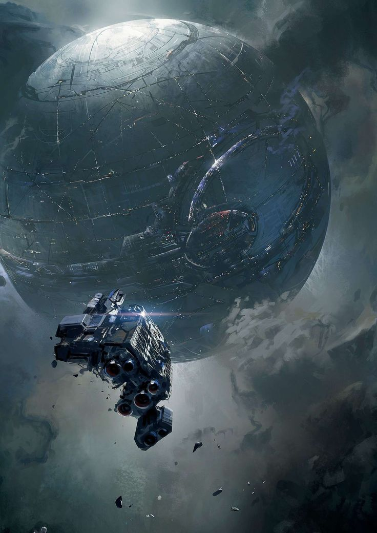 Early concept art of the Dawn approaching Requiem (Halo 4)