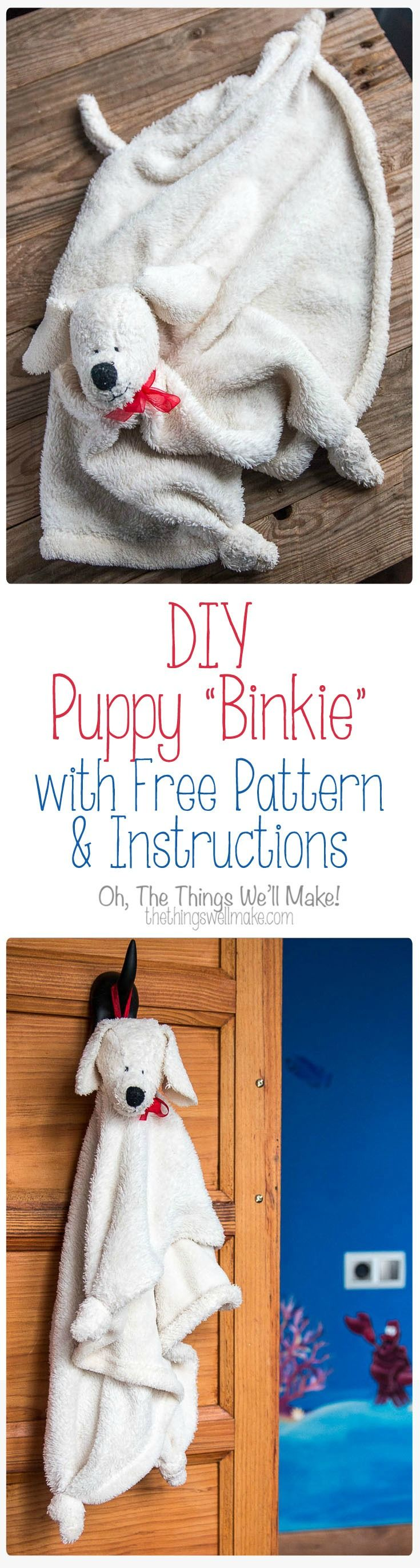 This super cute baby binkie or security blanket looks like a puppy. It isn't difficult to sew, and comes with a free pattern and instructions.