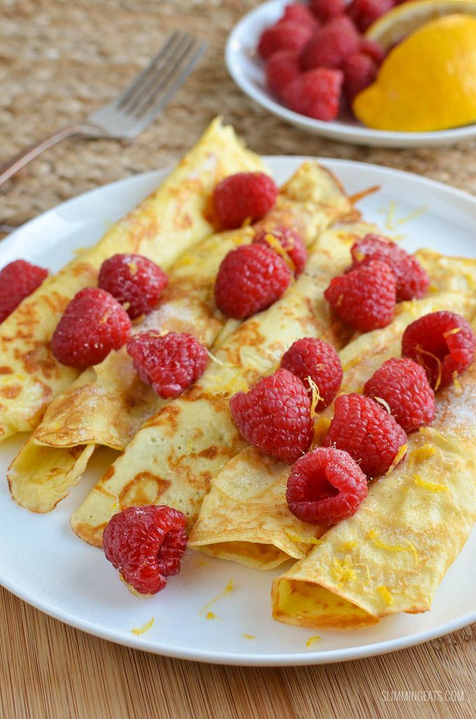 Delicious Low Syn Crepe Style Pancakes - great with fresh raspberries and lemon, plus they do not use any Slimming World healthy extra choices.