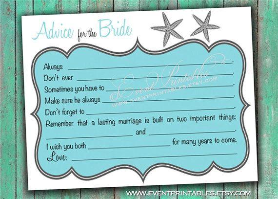 Printable Bridal Shower Advice Cards Beach Wedding Diy Mad Libs Starfish Guest