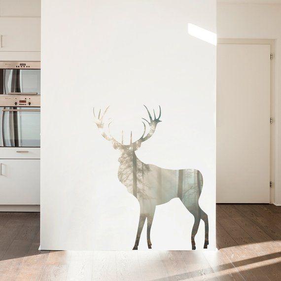 forest buck wall decal - deer wall decal, woodland nursery theme