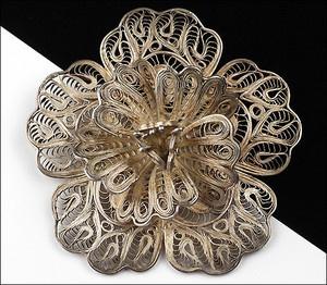 Filigree Sterling Silver floral brooch