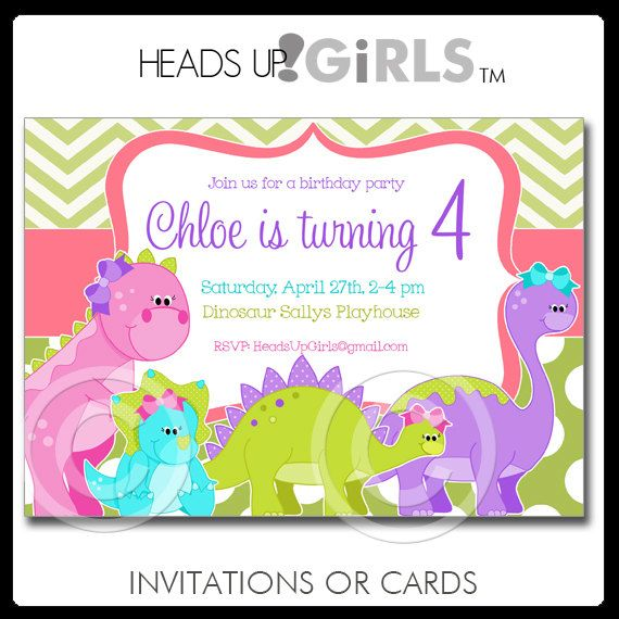 Set Of 12 Personalized Dinosaurs Birthday Party Invitations For Girls In Pink Purple Lime Green And Aqua By HeadsUpGirls 1800