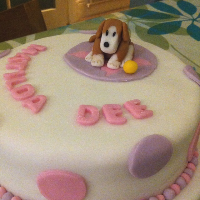 The second christening cake. Again the dog was her favourite soft toy this time sitting on a pink butterfly rug (she also loved butterflies!)