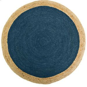 120cm 150cm 200cm Absolon Teal Jute Floor RUG Round Circle Living Nursery Room | eBay