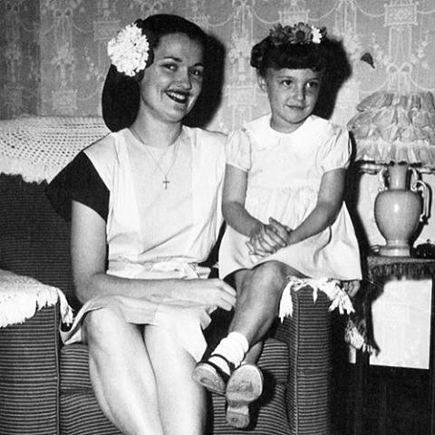 A young Sharon Tate with her mother, Doris Tate, 1940's