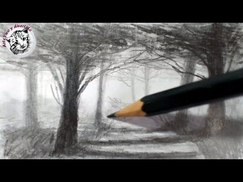 Cómo Dibujar Un Paisaje Con Sauces Al Carboncillo Técnica