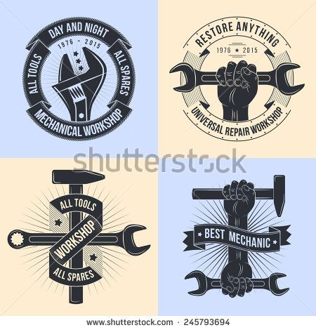 Logo for repair workshop. Emblem mechanics. Tools mechanics - open-end wrench, adjustable wrench, a hammer. Hand with hammer, hand with a spanner. Logo workshop in the old school style.