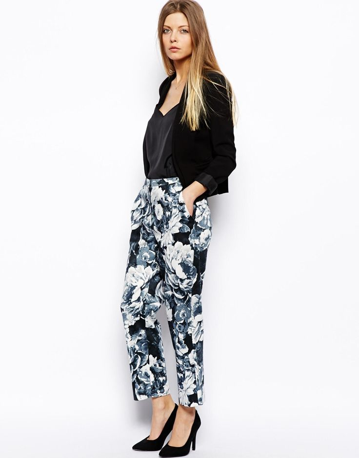 Image 1 of ASOS Trousers in Painted Floral Print