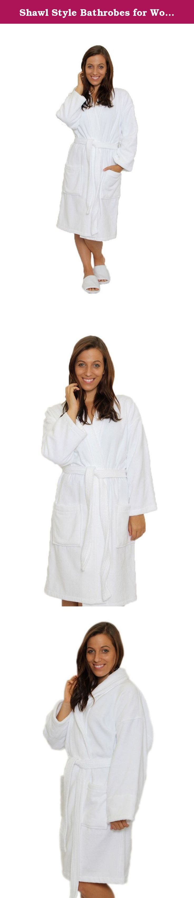 Shawl Style Bathrobes for Women Mens Robes, SMALL / MEDIUM, WHITE. Our 100% absorbent Cotton terry on the inside and velour on the outside Shawl bathrobe is perfect for womens and mens! Wrap yourself from head to toe in this thick luxurious robe and keep warm all winter long. Perfect after the hot tub, shower or sauna! It is absorbent and exceptionally soft against the skin, a little luxury to slip on after showering or anytime. Has two pockets, belt and belt loops, roomy fit, no need to...