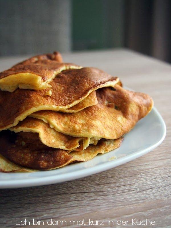 Low Carb Pfannkuchen (für 1 Portion) 55g Frischkäse 2 Eier 1El Xucker (oder Zucker) 1/2 Tl Zimt