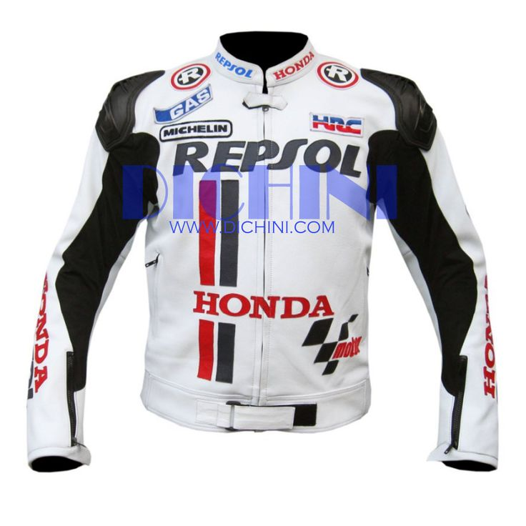 Honda Repsol White Race Motorbike Leather JacketHonda Repsol White Race Leather Jacket - Pre-curved sleeves for proper riding position, Dual stitched main seams for excellent tear resistance, Nylon Stitched, Leather Patches throughout the Body shell, This suit features excellent design & comfort