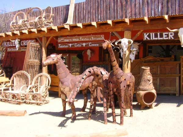 Western Shops on the road to Phoenix Wonderfully western stores with unusual  furniture and sculptures -