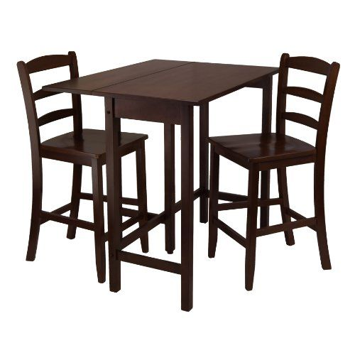 Winsome Lynnwood Drop Leaf High Table With 2 Counter Ladder Back  Stool/Chair, 3