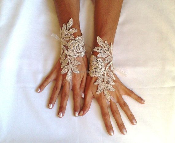 cappuccino Wedding gloves free ship happiness rose by GlovesByJana