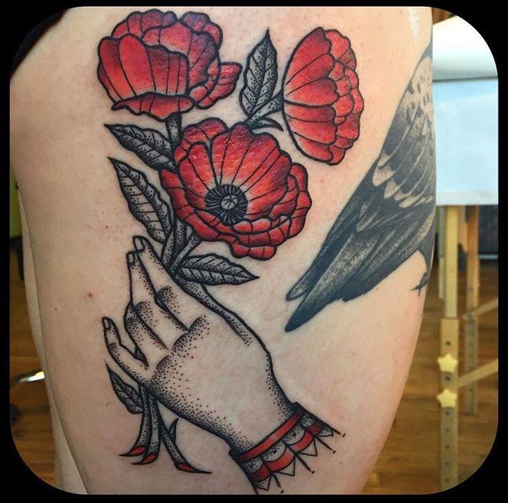 Stippling Tattoo Sleeves: Jennifer Trok Tattoo Flower Hand Stipple Traditional