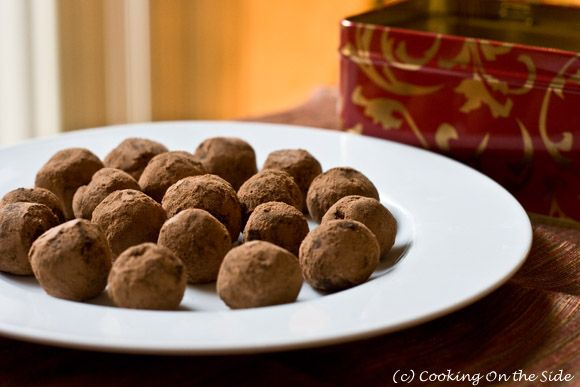Milk Chocolate Truffles...get the recipe at www.cookingontheside.com #holiday #chocolate #candy