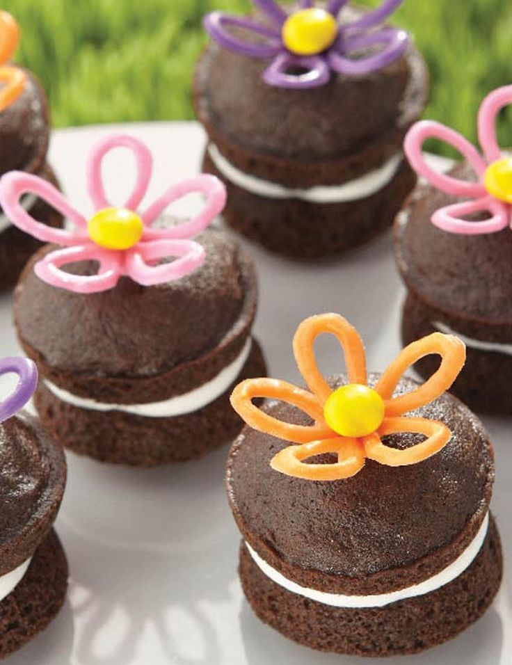 cupcake recipes for bridal shower%0A Candy Flowers Whoopie Pies   Chocolate Whoopie Pie Recipe from  joannstores    Bridal Shower Treats