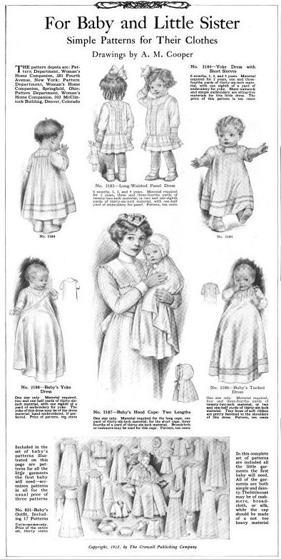 Women's Home Companion January 1913  For Baby and Little sister  designs for up to 4 years of age.