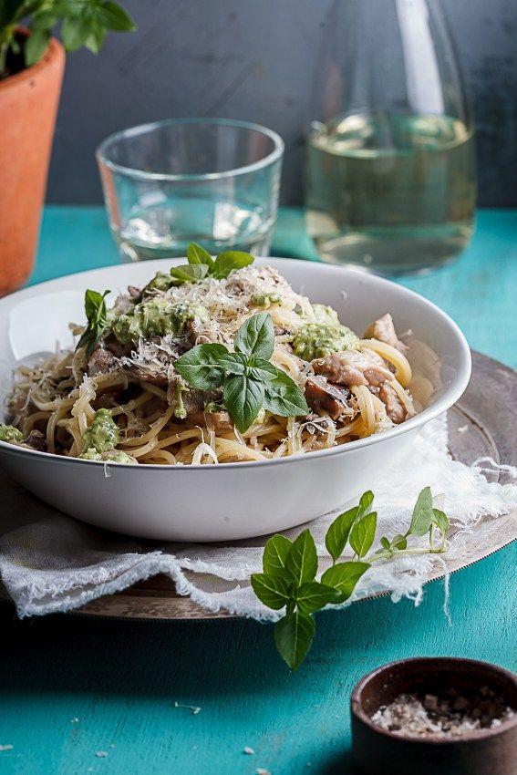Creamy chicken and mushroom pasta with basil pesto - Simply Delicious