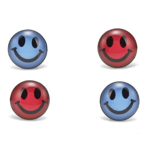 R&B Schmuck Herren Ohrstecker Ohrringe - Happy Pillen Smiley (4er Set, Blau, Rot Schwarz): 13,90€