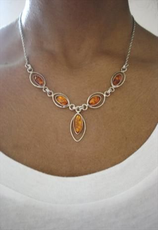 Sterling Silver & Amber Necklace  I love amber...would seriously like to make something with it.