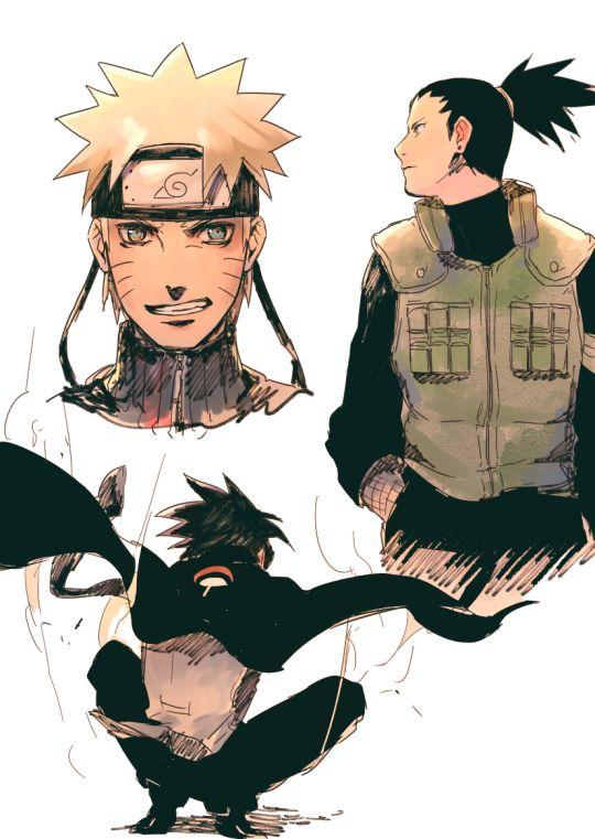 Naruto, Shikamaru, and Sasuke