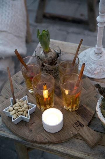 Vid advent har det blivit tradition att servera varm äppeljuice med kanel och stjärnanis i växthuset.