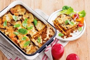 Veal and eggplant parmigiana lasagne