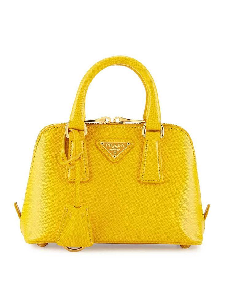 Prada Mini Saffiano Promenade Bag Yellow #Handbags