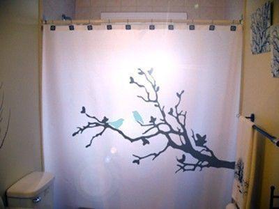 bluebirds shower curtain tree blue birds by