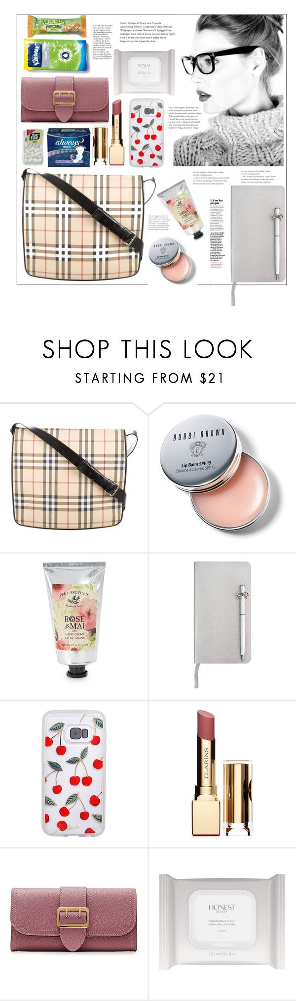 """""""Inside one bag"""" by natalyapril1976 ❤ liked on Polyvore featuring Burberry, Esse, Bobbi Brown Cosmetics, Pré de Provence, ICE London and Clarins"""