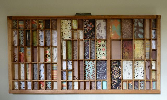 printers tray decorated with patterned papers