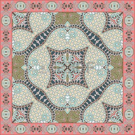 Traditionnel ornement floral paisley bandana. Vous pouvez utiliser ce modèle dans la conception de tapis, châle, oreiller, coussin Banque d'...