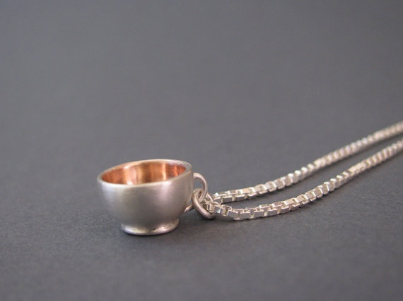Teacup Pendant wiht rose gold plating by juliecannonjewellery, $155.00